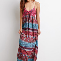 Tile Print Halter Maxi Dress