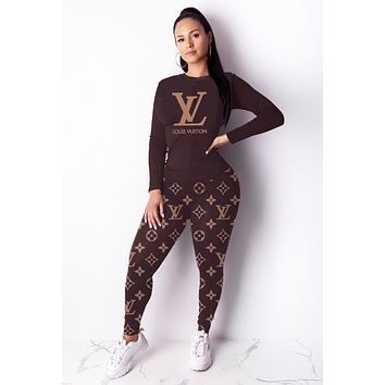 LV Louis Vuitton New Fashion Women Casual Print Top Pants Trousers Set Two-Piece Sportswear