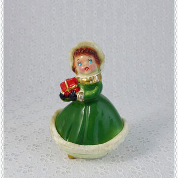Shopper Girl Figurine, Blue Rhinestone Eyes, Vintage Collectible, Green Dress, White Fur, Porcelain Lady Figure, Mid Century Christmas Decor