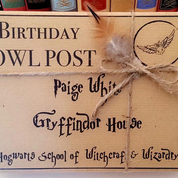 Harry Potter OWL POST BOX personalised gift wrap -Choose your house Gryffindor, Hufflepuff, Ravenclaw or Slytherin - Fill with your own gift