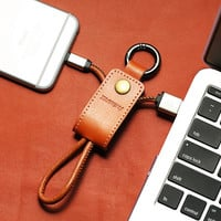 Convenient iPhone 6,6s / 6 6s Plus USB Cable Key Chains Leather Key Ring + Free Shipping + Gift Box