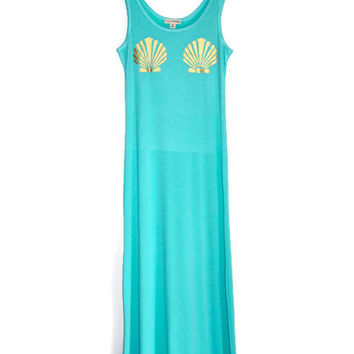 Mermaid Shell Bra Maxi Tank Dress - Mint