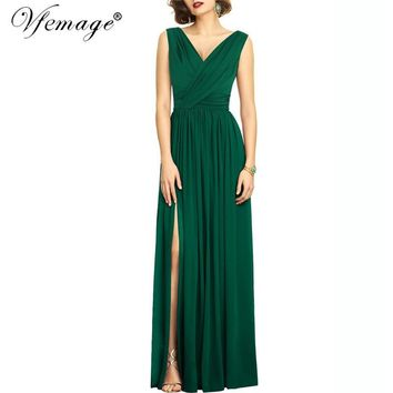Vfemage Womens Elegant V-neck Surplice Ruched Draped High Slit Split Pleated Party Evening Prom Formal Long Gown Maxi Dress 7980