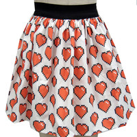 8 Bit Heart Full Skirt