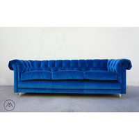 Mid Century (Chesterfield) Sofa – Teal Blue Velvet w/Custom Turned Lucite Legs - BUILT TO ORDER