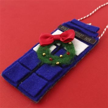 Felt TARDIS Ornament - Spiffing Jewelry
