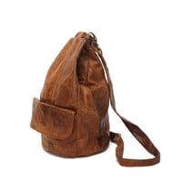 BOHEMIAN brown leather 80s 90s HOBO slouchy KNAPSACK backpack purse