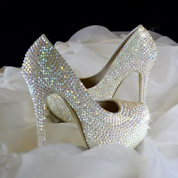Sparkling rhinestone crystal shoes wedding shoes stunning diamond high-heeled bridal shoes get married shoes
