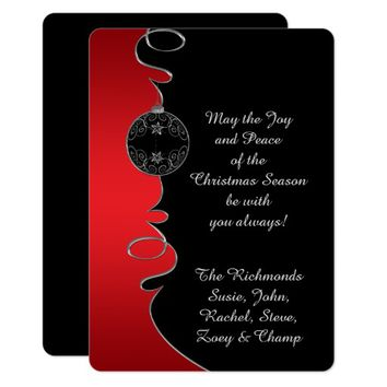 Red Gradient Silver Ornate Swirls Christmas Card