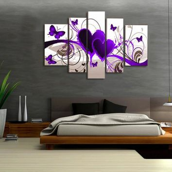 5 Pieces No Frame Canvas Painting Modern Modular Picture Wall Art Purple Hearts Canvas Paintings  Wall Decor For Living Room