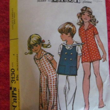 Spring Fever Sale 1970's McCall's Sewing Pattern, 3130! Size 4, Kids/Toddlers, Jumper, Jumpsuit, Sunsuit, Vests, Sleepwear, Casual Wear, Sum
