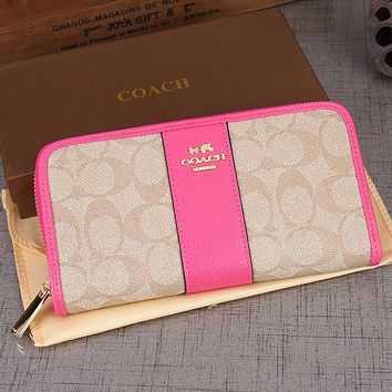 Coach Women Leather Zipper Wallet Purse