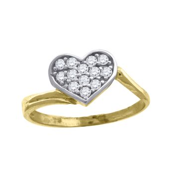Round Cut CZ Heart Love Design Promise Ring in 10k Yellow Gold