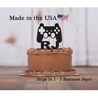 Video Game Controller Cake Topper with Name