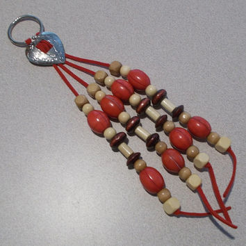 Southwestern Leather & Wood Beaded Silver Heart Concho Keychain, Handmade, Western Style, Country, Fashion Accessory, Natural, Bold, Red