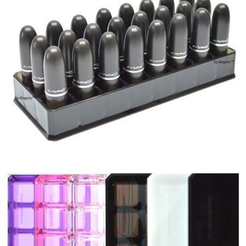 Acrylic Lipstick Organizer & Beauty Care Holder Provides 24 Space Storage | byAlegory (Black Clear) Makeup Organizer