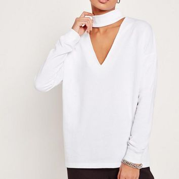 Missguided - Choker Neck Sweatshirt White