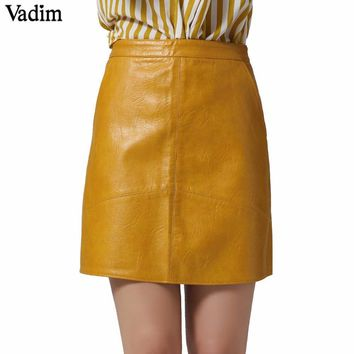 Solid PU leather skirts mini skirts