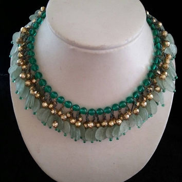 Vintage Chunky Green Glass & Lucite Beaded Bib Art Deco Statement Necklace 1930's 1940's Antique Jewelry Art Nouveau Style