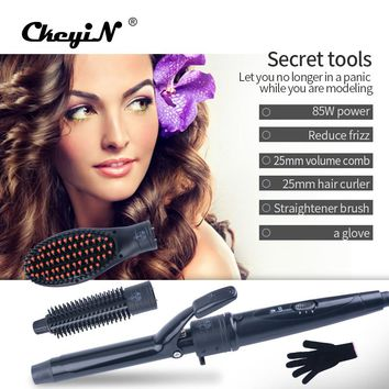 CkeyiN Multifunction 3 In 1 Hair Styling Tool Set Hair Curler & Volume Comb & Hair Straightener Brush+1Pcs Heat Resistant Glove