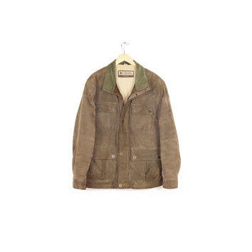 COLUMBIA sportswear leather jacket / brown suede / corduroy / outdoors hunting parka / barn field chore coat / rustic / classic / mens large