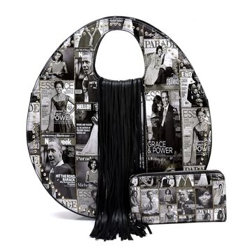 The Obama's Black and White Vegan Patent Leather Magazine Print Rounded Handbag with Fringe Detail and Matching Wallet S