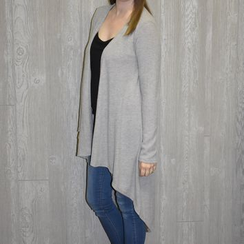Waiting on Winter Long Cardigan: Grey