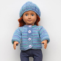 Ocean Blue Hand Knit Cardigan and Matching Hat for 18 Inch Fashion Doll, Handmade Sweater with Lavender Buttons, Clothes in Color of the Sea