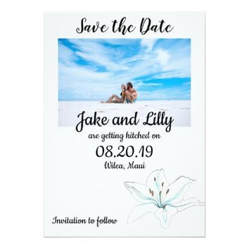 White Blue Lilly Flower Save the Date Invitation