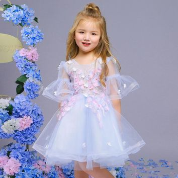 Lace Flower Girl Dresses for Wedding Sweet Light Blue Appliques Short Puff Sleeve Children Princess Party Gowns