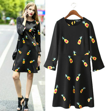 Stylish Round-neck Print Slim Women's Fashion One Piece Dress [4919015172]