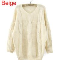 *Free Shipping* Beige Fitting Batwing Sweater TBHTK1106be from clothingloves
