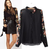 Women's Fashion Print Chiffon Tops Long Sleeve Shirt Bottoming Shirt [5013334532]
