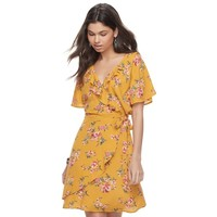 Juniors' Love, Fire Gauze Floral Faux-Wrap Dress