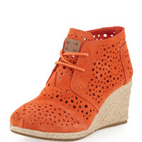 Moroccan Cutout Suede Wedge Boot, Orange - TOMS - Orange