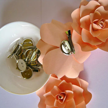 Shop flower corsage accessory on wanelo pale peach paper flower brooch paper wedding hair accessory paper corsage boutonniere mightylinksfo