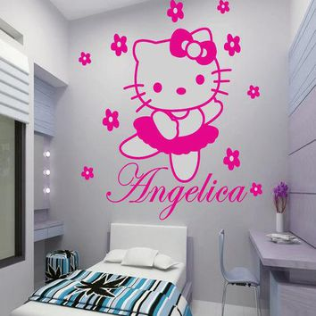 Custom Name Hello Kitty Vinyl Wall Art Wall Stickers For Girls Rooms Decor Wall Stickers Size 45*60CM adesivo de parede D84