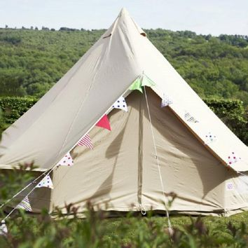 Light Khaki  4M Bell Tent Outdoor Glamping 10 person Family Camping Yurt Tent