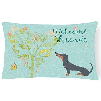 Welcome Friends Black Tan Dachshund Canvas Fabric Decorative Pillow BB7630PW1216