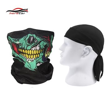 HEROBIKER 2 pieces Motorcycle Mask Balaclava Skull face shield Ghost Biker Maske Motor Windproof Caps Helmet Headwrap Bandana