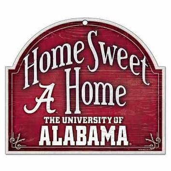 "ALABAMA CRIMSON TIDE HOME SWEET HOME ARCHED WOOD SIGN 10""x11"" BRAND NEW WINCRAFT"