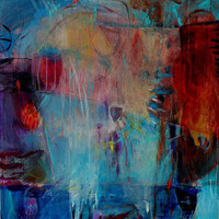 "Abstract Painting Large Canvas Colorful Acrylics ""Eyeing the Cup"""