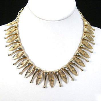 "Choker Necklace, Sarah Coventry ""Egyptian Temptress"" Goldtone Metal, Mid-Century Mod Design, Vintage c1960 Egyptian Revival Costume Jewelry,"