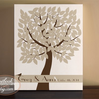 Guestbook Tree - Wedding Tree Guest Book Canvas - Wedding Tree Guestbook 125 Guests - Bird Tree Guest Book - Guest book print - Leaf Print