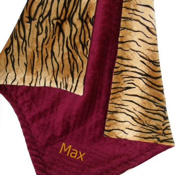 ON SALE Minky Baby Blanket in Tiger Print with Burgundy Minky Dot, Maroon Tiger Minky Blanket, Three Sizes
