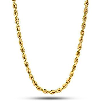 4mm 14k Gold Rope Chain