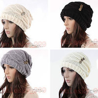 New Fashion Women Hat Cap Warm Winter Ski Braided Baggy Beanie Knit Crochet Hats