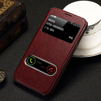 For Samsung Galaxy Note 2 II N7100 Case Luxury PU Leather Window Stand Design Flip Cover Phone Case For Galaxy Note 3 Coque
