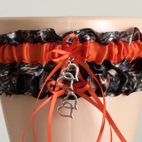 Mossy Oak Orange Camouflage Wedding Garter Set, Bridal Garter Set, Camo Garter, Keepsake Garter