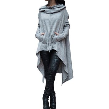 Women's Fashion Solid Color Draw Cord Coat Long Sleeve Loose Casual Poncho Coat Hooded Pullover Long Hoodies Sweatshirts
